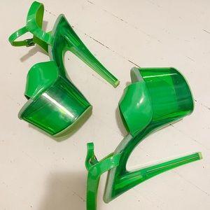 Neon Green Pleasers pole/stripper heels UVREACTIVE